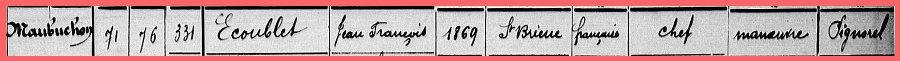 Informations sur une personne dans un recensement