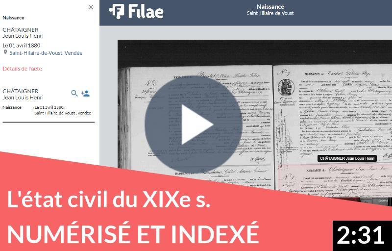 L'état civil numérisé et indexé du XIXe siècle