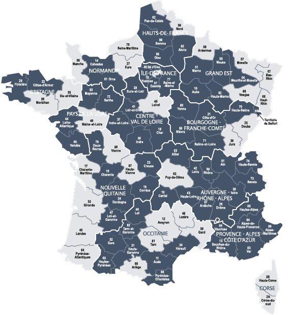 Carte du recensement de 1872 en France