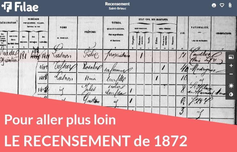 Le recensement de 1872 est disponible avec 16 millions d'individus