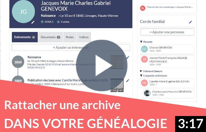 Rattacher une archive ou un relevé dans votre généalogie