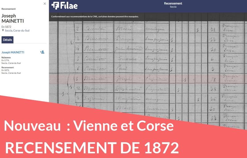 Recensement de 1872 : ajout de la Vienne et de la Corse