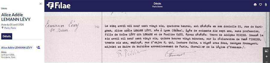 Acte de décès à Paris d'Alice Levy Lemann