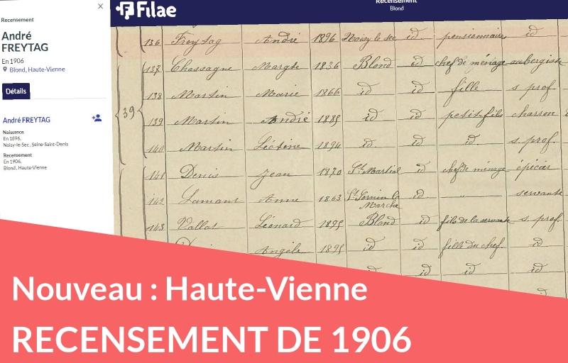 Nouveau recensement de 1906 : la Haute-Vienne