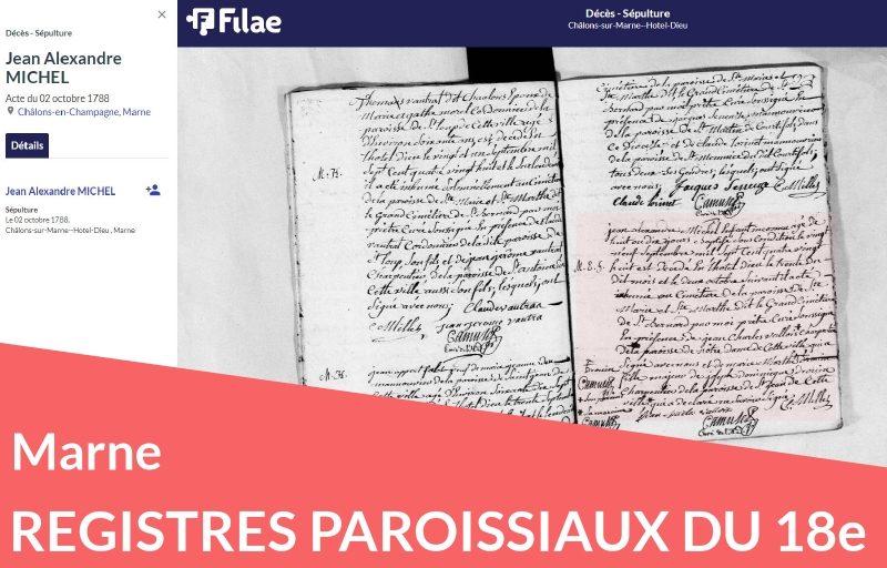 Nouveau : les registres paroissiaux de la Marne (18e)