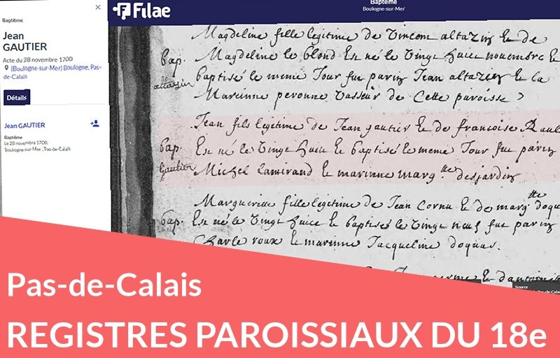 Nouveau : registres paroissiaux du Pas-de-Calais au 18e siècle