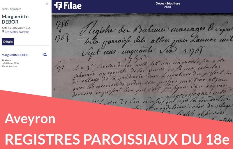 Nouveau : les registres paroissiaux de l'Aveyron (18e)