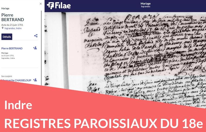 Nouveau : les registres paroissiaux de l'Indre (18e)