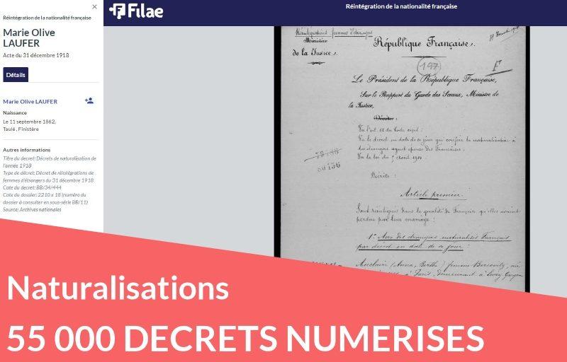 Naturalisations : plus de 55 000 décrets numérisés