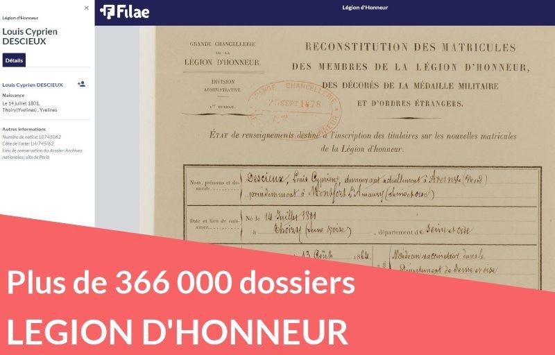 Légion d'honneur 366 000 dossiers numérisés