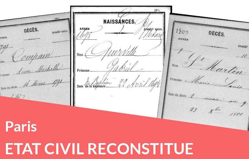Nouveau : Etat civil reconstitué de Paris : collection des archives départementales