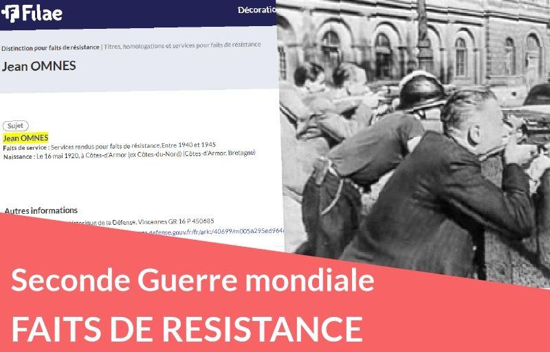 Nouveau : Faits de résistance pendant la Seconde Guerre mondiale