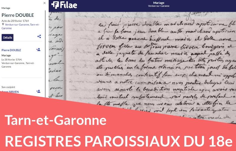 Registres paroissiaux du Tarn-et-Garonne numérisés et indexés