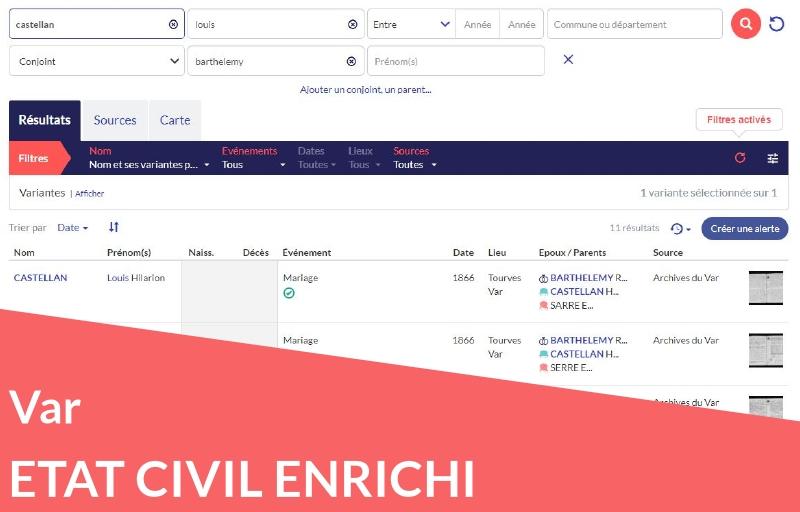 Nouveau ! Etat civil enrichi du Var