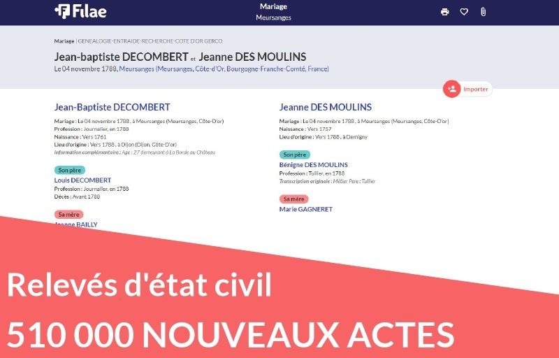 Nouveau : 510 000 relevés d'état civil