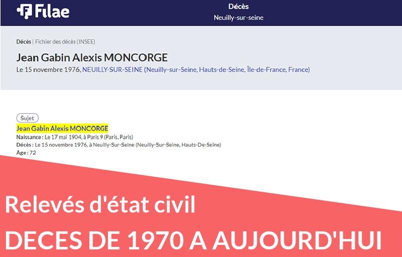 Nouvelle collection : les relevés de décès de l'INSEE de 1970 à aujourd'hui