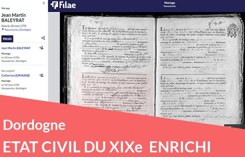Etat civil de Dordogne du XIXe retraité et enrichi