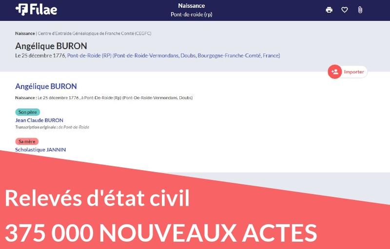 Plus de 375 000 relevés d'état civil ajoutés