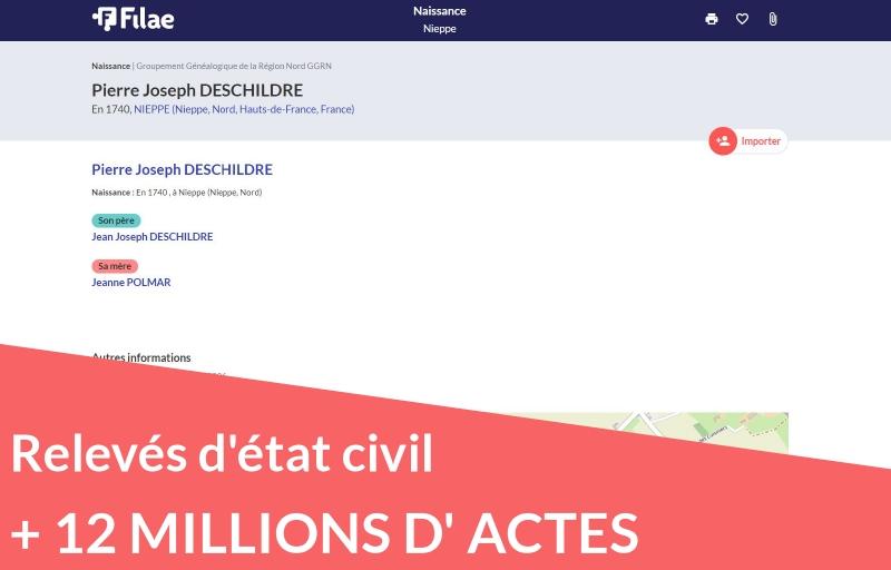 12 millions de nouveaux relevés d'état civil