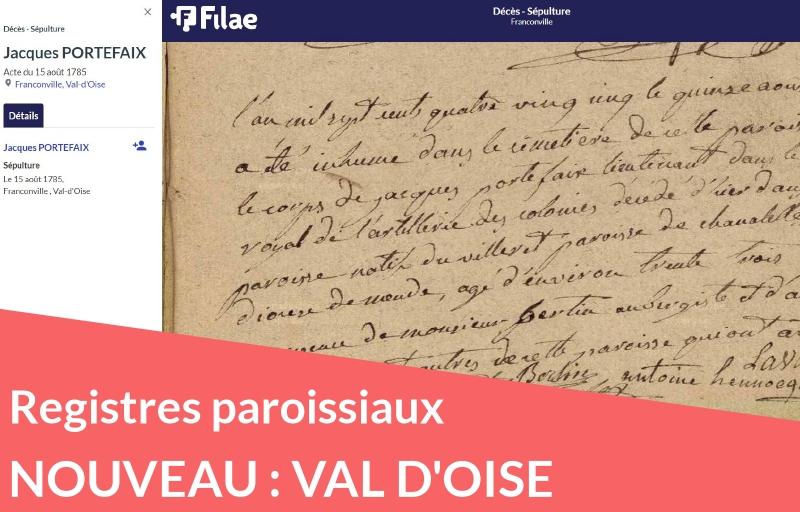 Nouveau : registres paroissiaux du Val d'Oise au XVIIIe siècle