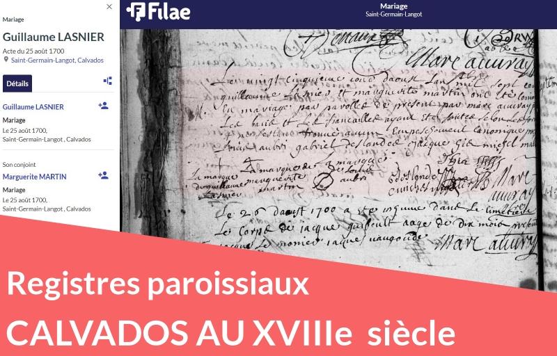 Nouveau : registres paroissiaux du Calvados au XVIIIe siècle