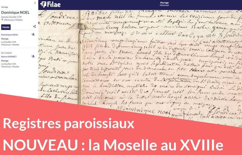 Nouveau : registres paroissiaux du XVIIIe siècle de la Moselle