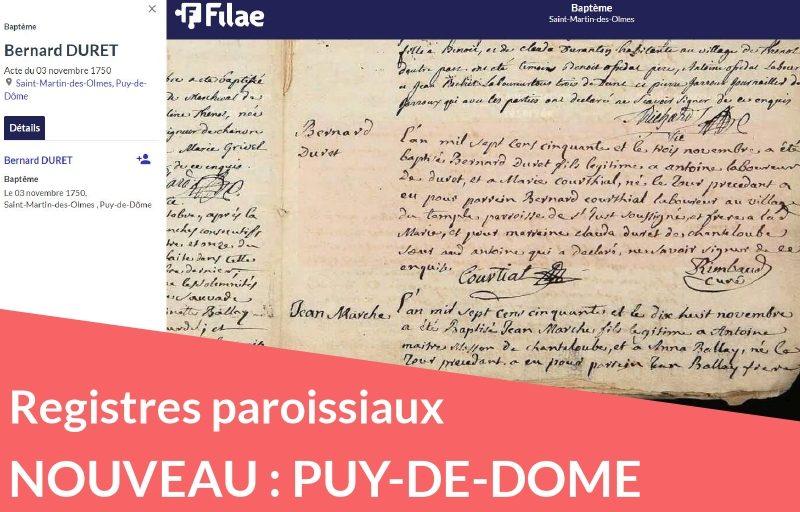 Nouveau : registres paroissiaux du Puy-de-Dôme au XVIIIe siècle