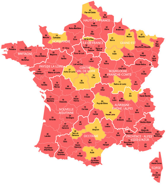 carte des registres paroissiaux