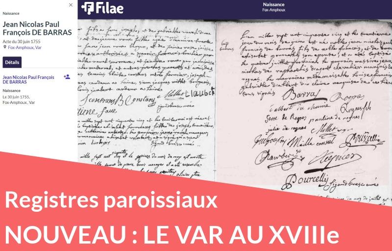 Nouveau : registres paroissiaux du Var (XVIIIe siècle)