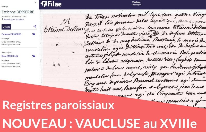 Nouveau : registres paroissiaux du Vaucluse (XVIIIe siècle)