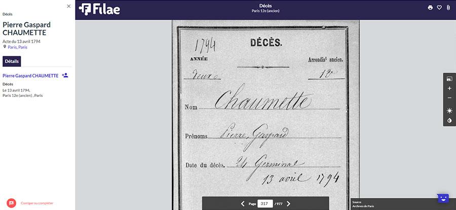 décès de Gaspard Chaumette