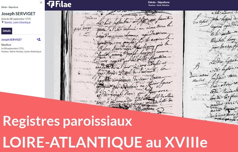 Nouveau : registres paroissiaux de Loire-Atlantique (XVIIIe siècle)