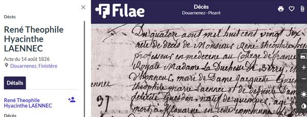 acte de décès de René Laennec