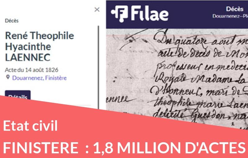 Etat civil du Finistère complété + 1,8 million d'actes