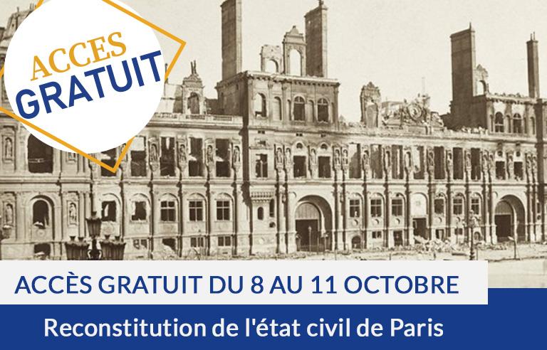 Accès gratuit: reconstitution de l'état civil de Paris
