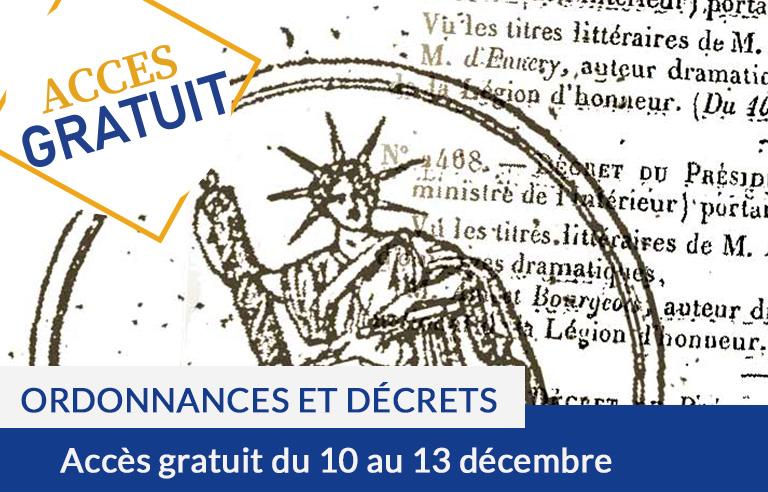Accès gratuit aux ordonnances, décrets, naturalisations et optants